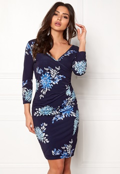 Sisters Point Line Dress 441 Navy/Flower Bubbleroom.no