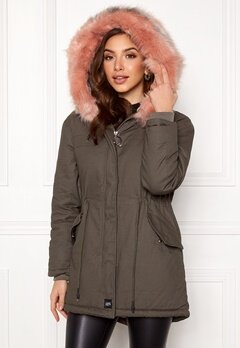 Sixth June Parkas Faux Fur Jacket Grey/Stone Pink Bubbleroom.no