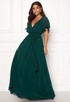 Goddiva Sleeve Chiffon Maxi Dress Green Bubbleroom.no