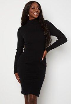 VILA Solto Knit Button L/S Dress Black Bubbleroom.no