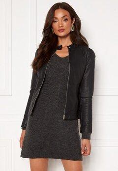 Jacqueline de Yong Stormy Faux Leather Jacket Black Bubbleroom.no