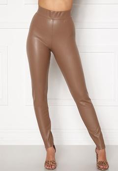 ONLY Superstar PU Leggings Walnut Bubbleroom.no