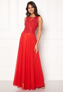 SUSANNA RIVIERI Embroidery Pearl Dress Red Bubbleroom.no