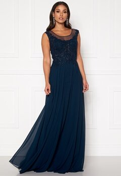 SUSANNA RIVIERI Dream Chiffon Dress Navy Bubbleroom.no