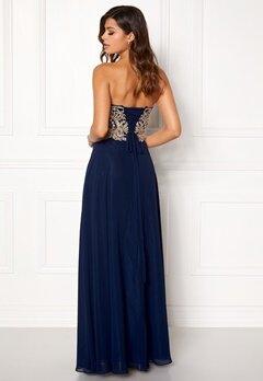 SUSANNA RIVIERI Embellished Chiffon Dress Navy Bubbleroom.no