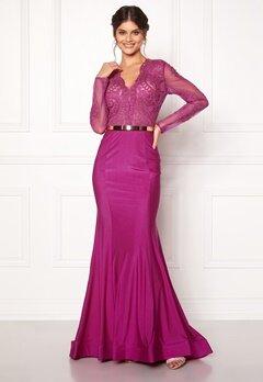 SUSANNA RIVIERI Fishtail Longsleeve Dress Magenta Bubbleroom.no