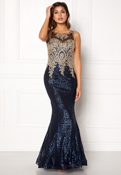 SUSANNA RIVIERI Fishtail Sequin Dress Black/Black Bubbleroom.no