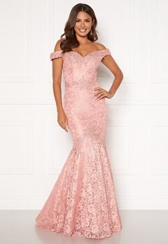SUSANNA RIVIERI Mermaid Lace Dress Blush Bubbleroom.no