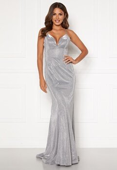 SUSANNA RIVIERI Sparkling Fishtail Dress Silver Bubbleroom.no