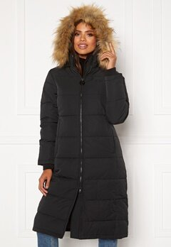 Svea W. Long Slim Padded Parka 900 Black Bubbleroom.no