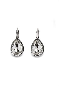 BY JOLIMA Tear Drop Earring Crystal Silver Bubbleroom.no