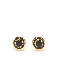 The Marc Jacobs The Medallion Studs Earrings 001 Black/Gold bubbleroom.no
