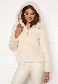 VERO MODA Thea Hoody Short Faux Fur Birch Bubbleroom.no