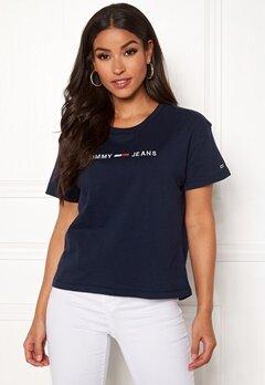 TOMMY JEANS Clean Linear Logo Tee 002 Black Iris Bubbleroom.no