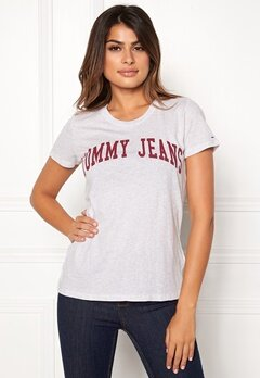 TOMMY JEANS Clean Logo Tee Pale Grey Heather Bubbleroom.no