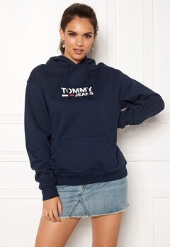 TOMMY JEANS Corp Logo Hoodie 002 Black Iris Bubbleroom.no