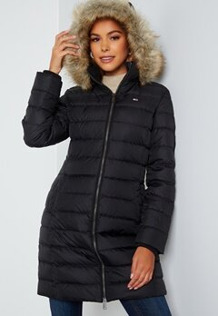 TOMMY JEANS Essential Hooded Down Coat BDS Black Bubbleroom.no