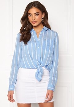 TOMMY JEANS Front Knot Shirt 0FO White/Moderate B Bubbleroom.no