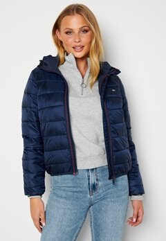 TOMMY JEANS Quilted Hooded Jacket C87 Twilight Navy bubbleroom.no