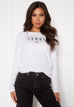 TOMMY JEANS Slim LS Lala Tee White Bubbleroom.no