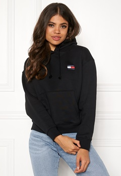 TOMMY JEANS Tommy Badge Hoodie BBU Tommy Black Bubbleroom.no