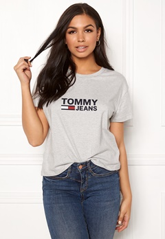 TOMMY JEANS Tommy Flag Tee 000 Light Grey Bubbleroom.no