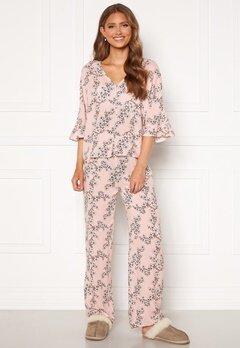 Trendyol Flower Printed Pyjama Set Pudra/Powder Pink Bubbleroom.no