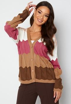 Trendyol V-Neck Stripe Knitted Cardigan Camel bubbleroom.no