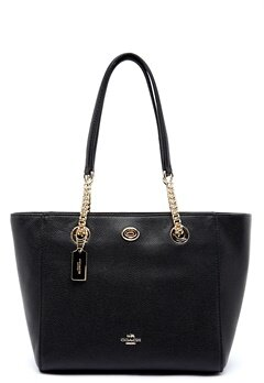 COACH Turn Lock Leather Bag LIBLK Black Bubbleroom.no