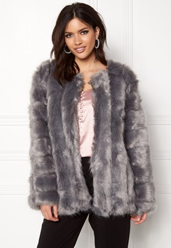 Urban Mist Plush Faux Fur Coat Grey Bubbleroom.no