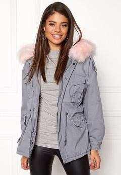 Urban Mist Plush Faux Fur Parka Grey/Pink Bubbleroom.no