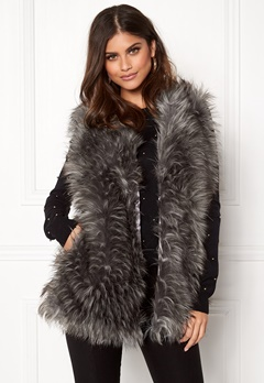 Urban Mist Tipped Faux Fur Gilet Grey Bubbleroom.no