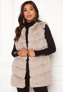 Urban Mist Chevron Faux Fur Gilet Beige Bubbleroom.no