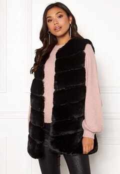 Urban Mist Chevron Faux Fur Gilet Black Bubbleroom.no