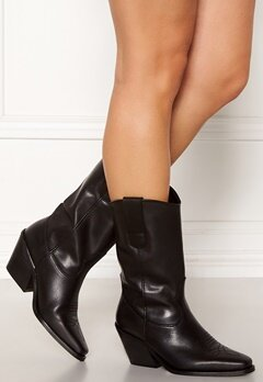 VERO MODA Asa Leather Boot Black Bubbleroom.no