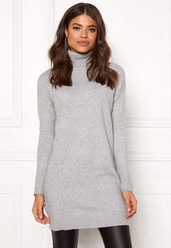 VERO MODA Brilliant LS Rollneck Dress Light Grey Melange Bubbleroom.no