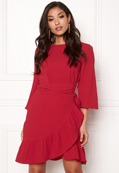 VERO MODA Cita 3 4 Bell Wrap Dress Chinese Red Bubbleroom.no 9770298917