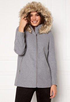 VERO MODA Collar York Wool Jacket Light Grey Melange Bubbleroom.no