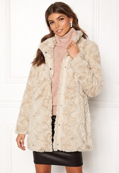 VERO MODA Curl Faux Fur Jacket Oatmeal Bubbleroom.no