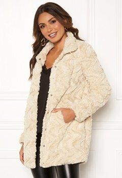 VERO MODA Curl High Faux Fur Jacket Oatmeal Bubbleroom.no