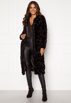 VERO MODA Curl Long Faux Fur Jacket Black Bubbleroom.no