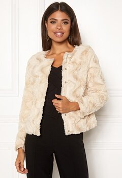 VERO MODA Curl Short Faux Jacket White Bubbleroom.no