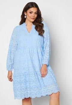 Vero Moda Curve Nice LS Below Knee Dress Placid Blue Bubbleroom.no