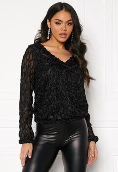 VERO MODA Doris V-Neck Top Black/Glitter Bubbleroom.no