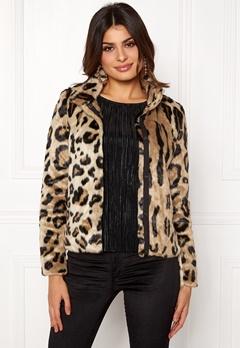 VERO MODA EA Leopard Short Faux Fur Silver Mink Bubbleroom.no