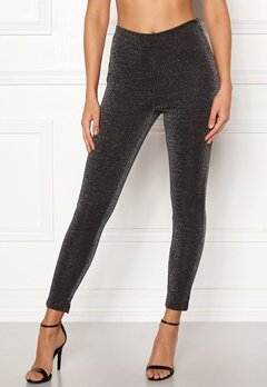 VERO MODA Erika Lurex Legging Black Silver Bubbleroom.no
