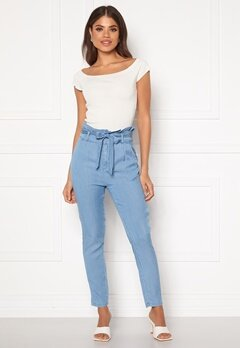 VERO MODA Eva HR Paperbag Pant Light Blue Denim Bubbleroom.no