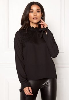VERO MODA Fana Sharpa L/S Lace Top Black Bubbleroom.no