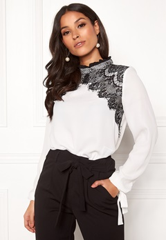 VERO MODA Fana Sharpa L/S Lace Top Snow White Bubbleroom.no
