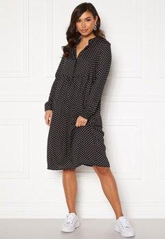 VERO MODA Fie Ls Calf Dress Wvn Black / Birch Dot Bubbleroom.no